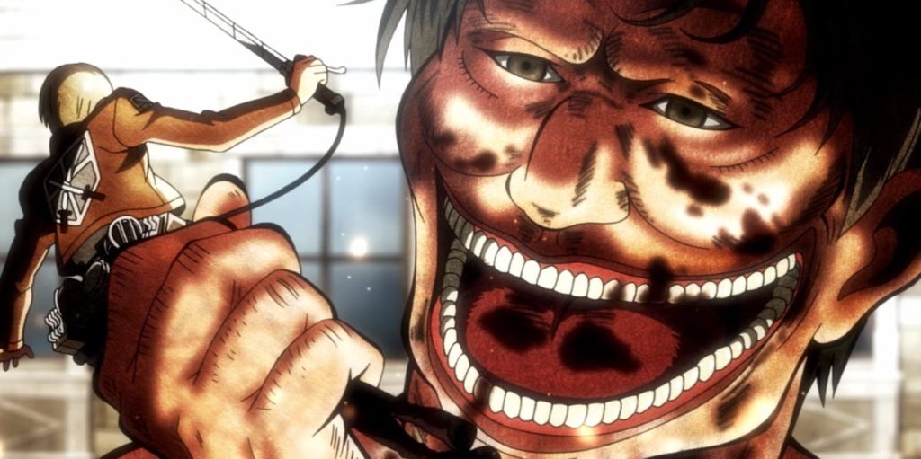 Titan about to eat a Survey Corps member