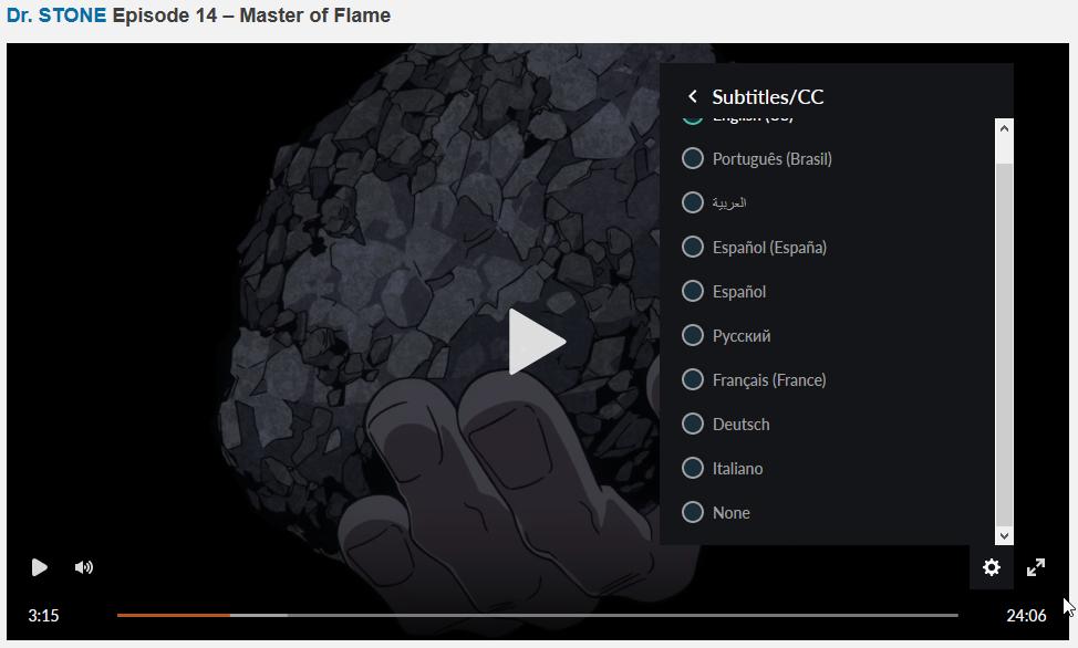 Crunchyroll HTML5 player settings