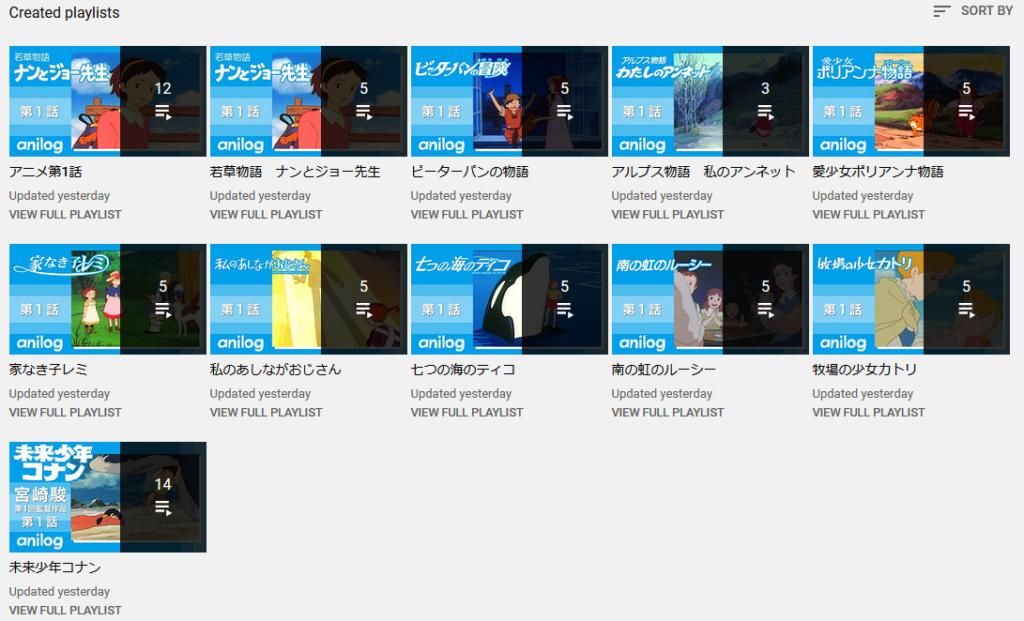 World Masterpiece Theater and Tezuka Productions anime on YouTube