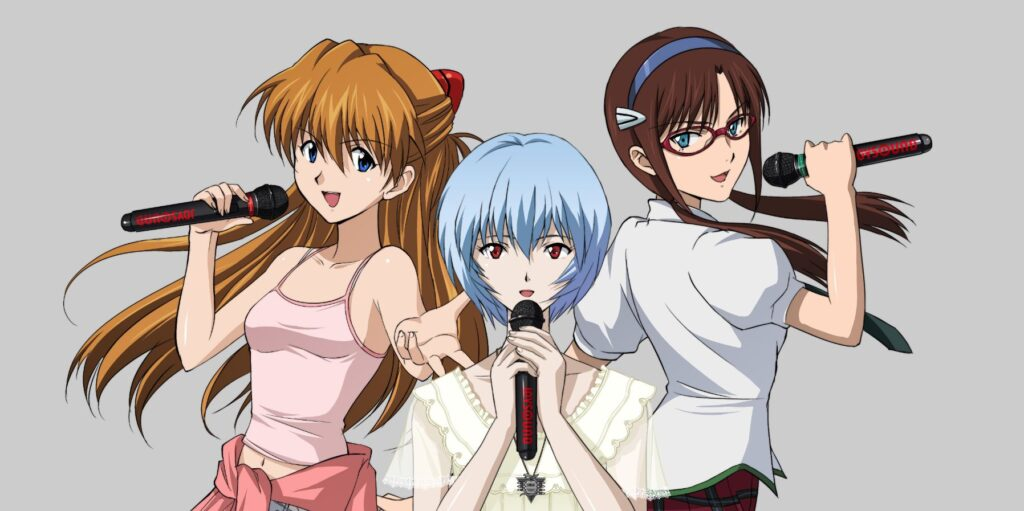 Asuka and Rei from Neon Genesis Evangelion Singing