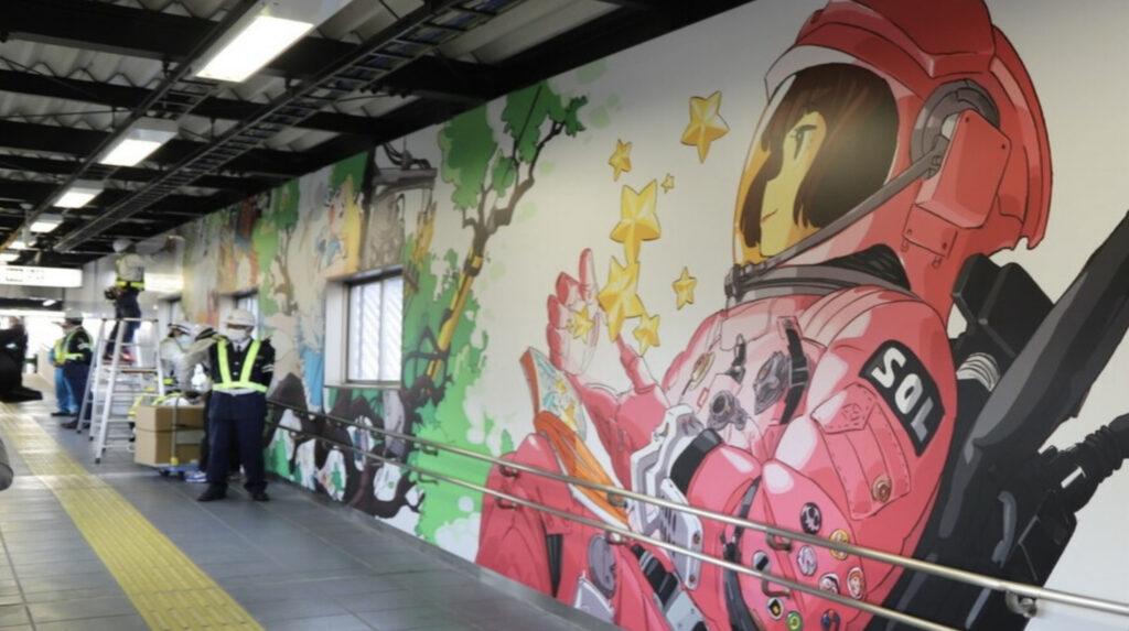 Fantasy-Themed Mural by TRIGGER Animator Sushio Installed Inside Higashi Tokorozawa Station