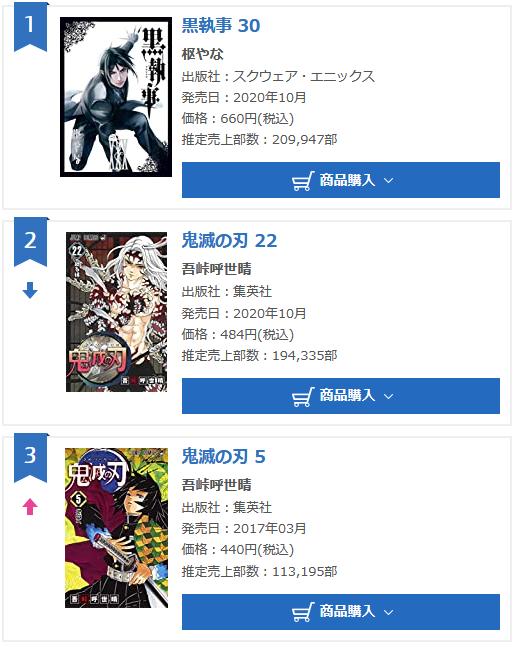 Black Butler volume 30 Oricon