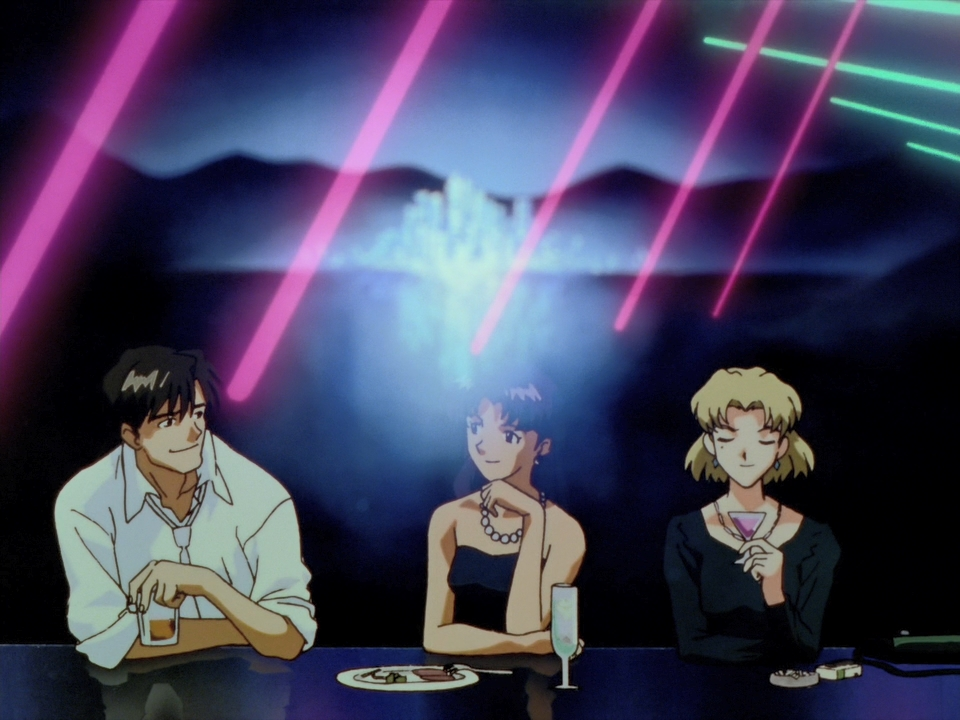 Ritsuko, Misato, And Kaji Having Dinner