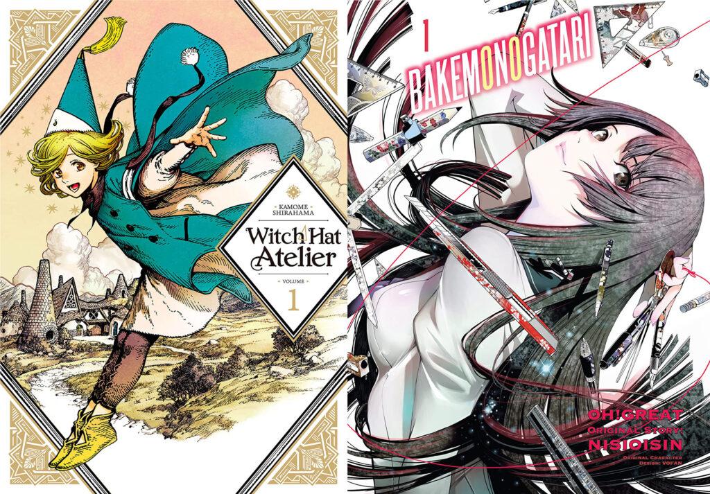 Witch Hat Atelier and Bakemonogatari manga covers