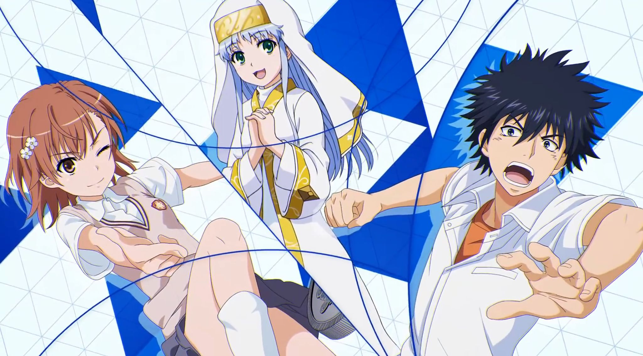 Kamijou Index and Misaka from A Certain Magical Index anime