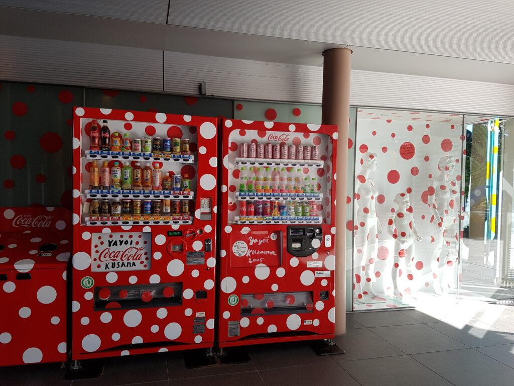 Yayoi Kusama vending machines at the Matsumoto Museum of Art