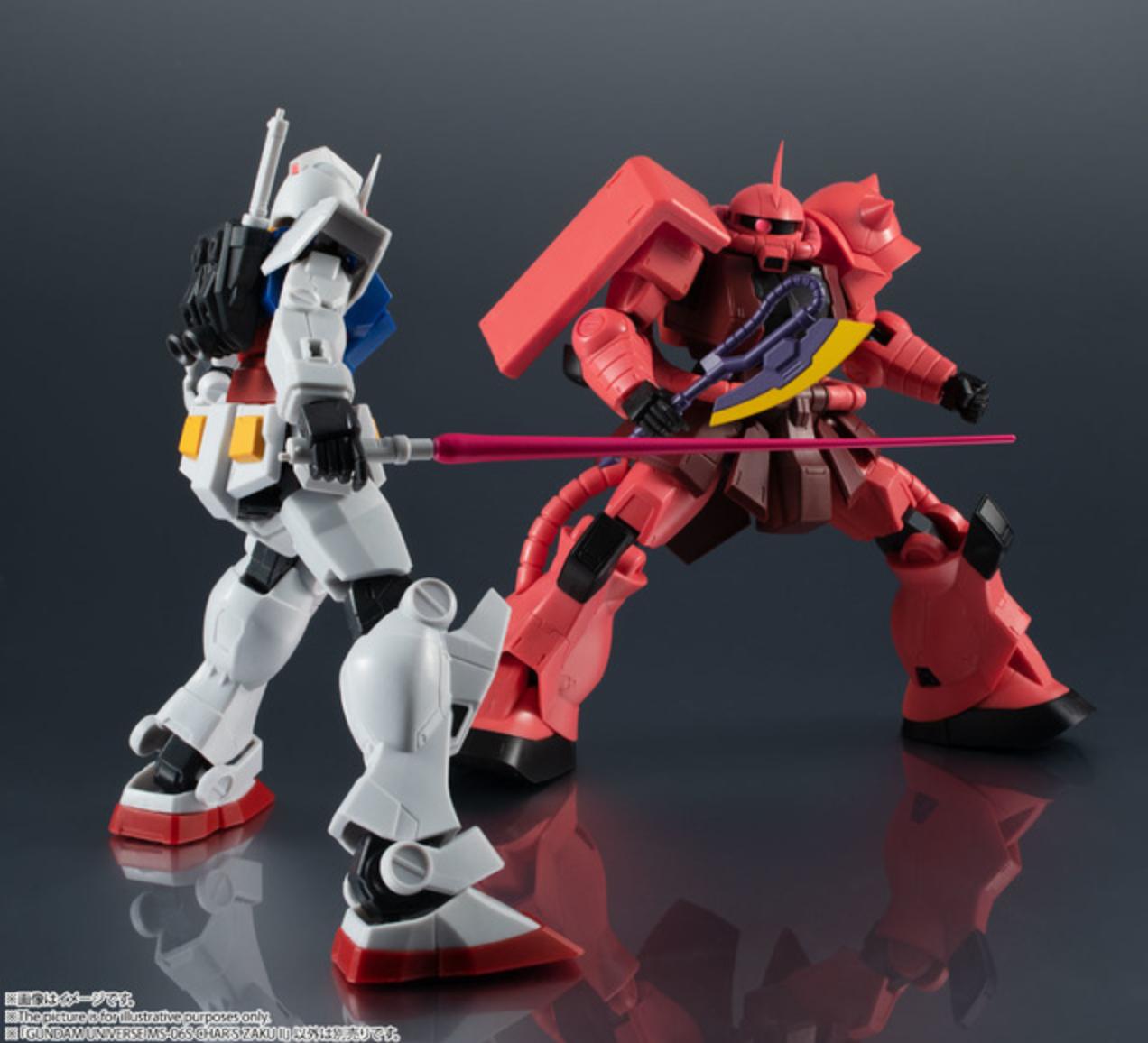 Char's Zaku II poses with a Gundam