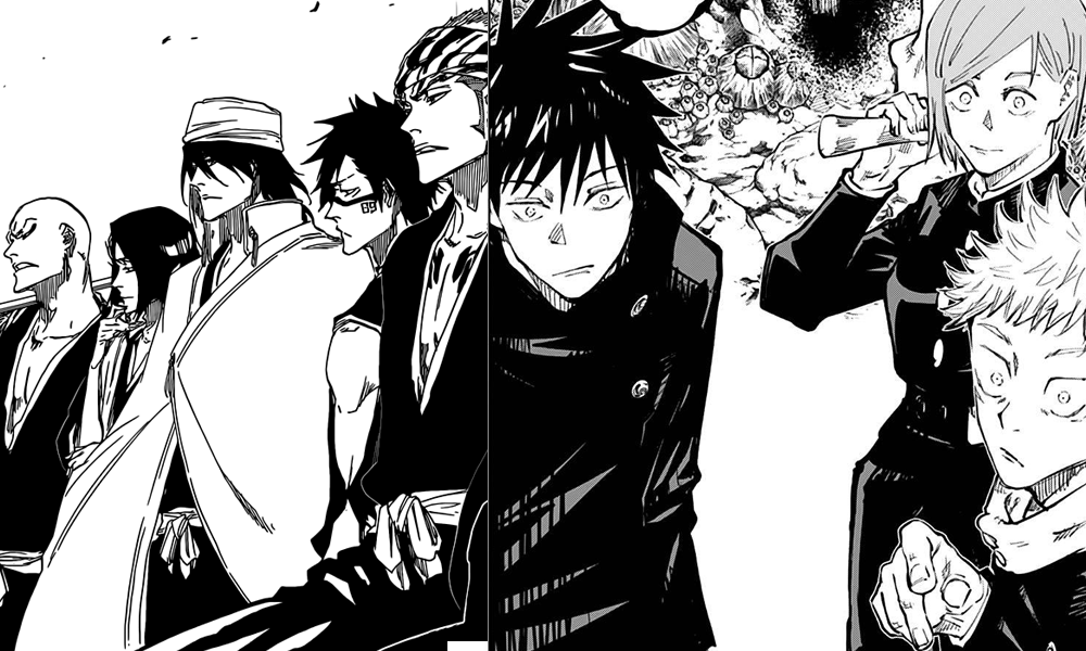 Jujutsu Kaizen and Bleach manga pages