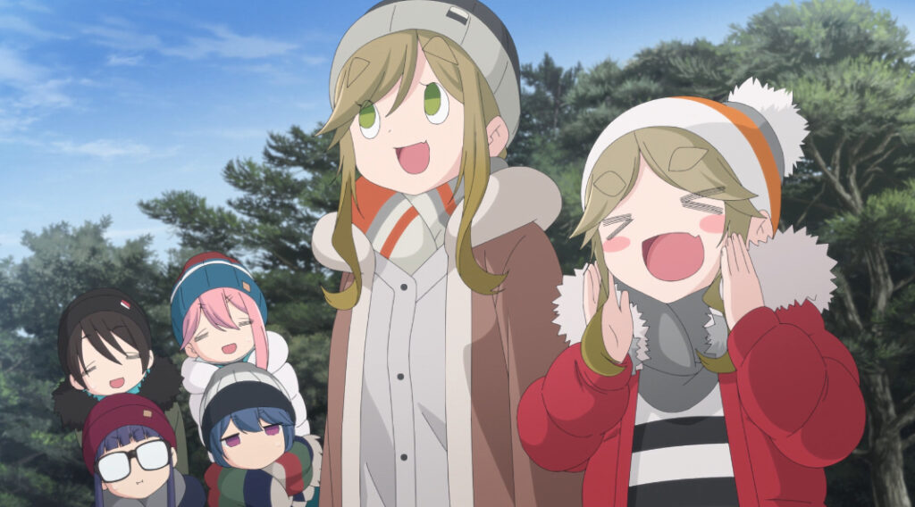Aoi Inuyama makes a 'this is a lie' face in Yuru Camp.
