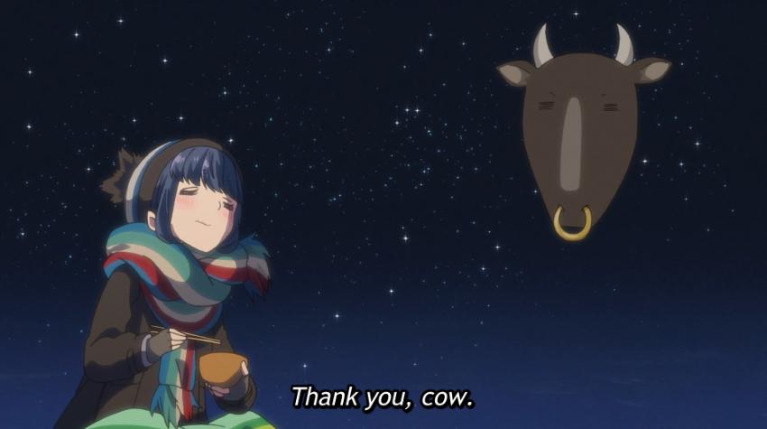 Rin, eating sukiyaki, thanks the cow (Laid-Back Camp)