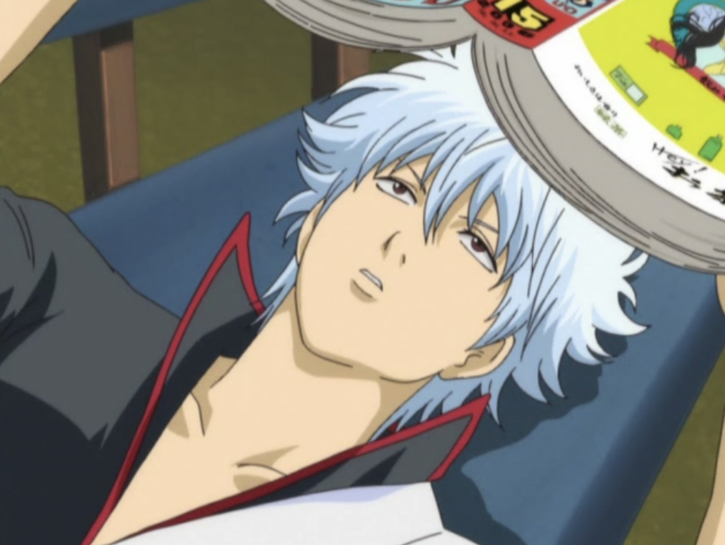 Gintoki reads Jump, first episodes of Gintama