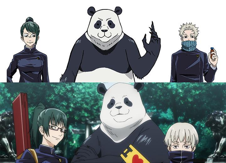 Jujutsu 0 Maki Zenin, Togi Inumaki, and Panda