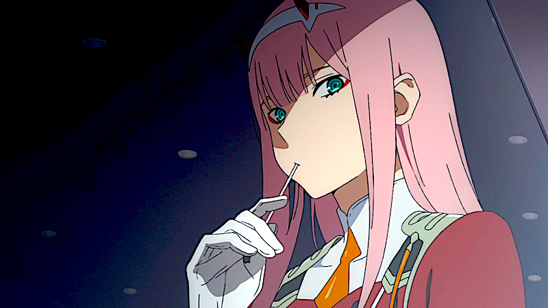darling in the franxx zero two eating a lollipop