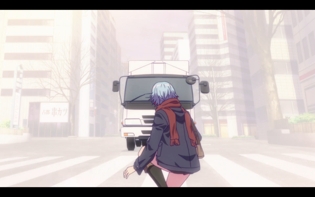 fuuka about to be hit by Truck-kun