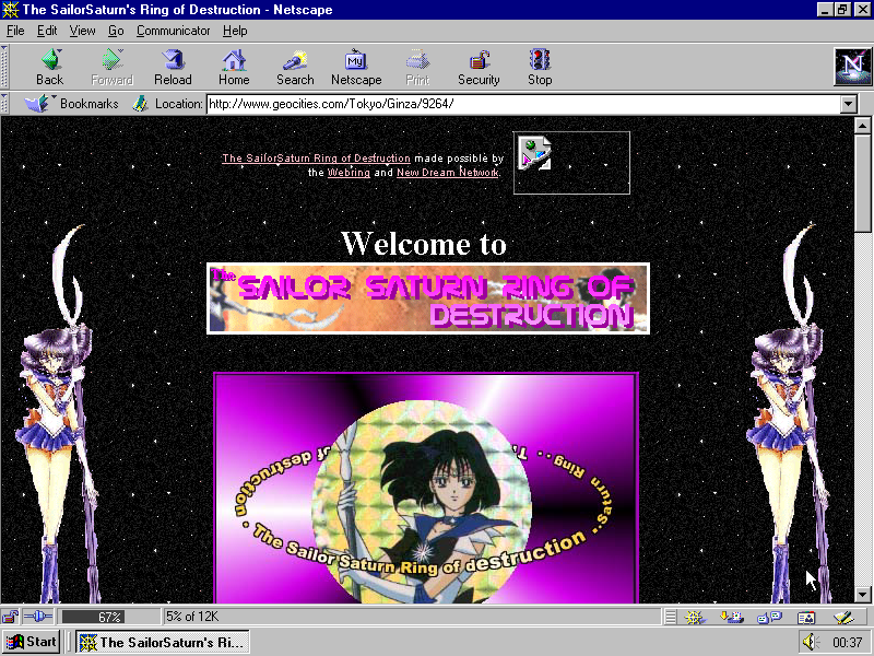 Sailor Saturn Web 1.0 Site